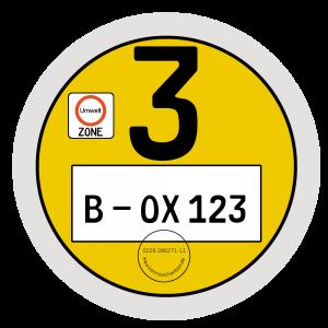 Umweltplakette gelb gilt für Schadstoffgruppe 3
