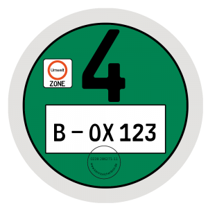 Grüne Umweltplakette gilt für Schadstoffgruppe 4