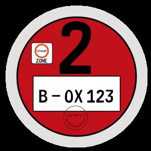 Rote Umweltplakette gilt für Schadstoffgruppe 2