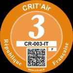 Crit'Air Vignette Klasse 3