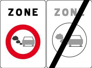 Einfahrts- und Ausfahrtsschild Umweltzone Antwerpen